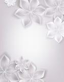 Fond blanc élégant avec des fleurs de textile Image libre de droits
