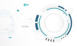 Fond blanc abstrait de technologie numérique de cercle, fond futuriste de concept d'éléments de structure illustration stock