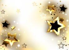 Fond blanc avec des étoiles d'or Photo stock