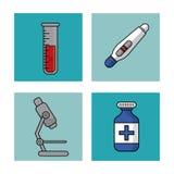 Fond blanc avec des cadres de contrôle sanitaire avec l'essai de tube et de grossesse à essai et le microscope et la bouteille de Photos libres de droits