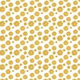Fond blanc avec des fleurs de scintillement d'or Photographie stock libre de droits
