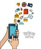 Fond blanc avec des personnes à l'aide d'un smartphone avec le marketing et la publicité de Web d'éléments Photo stock