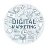 Fond blanc avec des sections de couleur de cadre circulaire avec le marketing numérique d'icônes Photo libre de droits