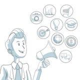 Fond blanc avec des sections de couleur d'homme d'affaires tenant le mégaphone du marketing numérique d'icônes de diffusion Images stock