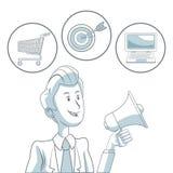 Fond blanc avec des sections de couleur d'homme d'affaires tenant le marketing numérique d'icônes de mégaphone et de bulles Photo stock