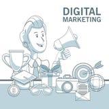 Fond blanc avec des sections de couleur d'homme d'affaires tenant le marketing numérique de mégaphone et d'éléments Images stock