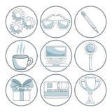 Fond blanc avec des sections de couleur du cadre circulaire du marketing numérique d'éléments Photo stock