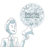 Fond blanc avec des sections de couleur de l'homme exécutif et cadre circulaire avec le marketing numérique d'icônes Images stock