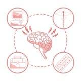 Fond blanc avec des sections de couleur rouge d'organe de cerveau de silhouette avec la santé circulaire d'éléments de cadre illustration stock