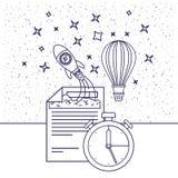 Fond blanc avec la silhouette bleue de la fusée d'espace et le ballon à air et l'horloge chaud Photographie stock libre de droits