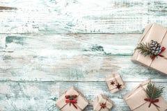 Fond blanc Avec la texture moderne L'espace pour le message du ` s de Santa Carte de voeux de Noël, articles faits main Photos libres de droits