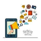 Fond blanc avec le smartphone et le mégaphone avec le marketing et la publicité de Web d'éléments Image stock