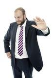 Fond blanc confiant d'homme d'affaires de barbe Photo stock