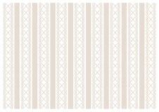 Fond blanc décoré des rayures verticales et de l'ornement dans brun clair illustration stock
