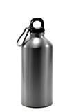 Fond blanc d'isolement en aluminium de l'eau de bouteille Photo libre de droits
