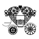 Fond blanc d'isolement par chariot noir de dentelle de vintage Image stock