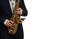 Fond blanc d'isolement par homme de joueur de saxophone Images libres de droits