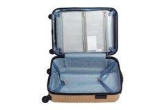 Fond blanc d'isolement par sac ouvert de voyage de bagage Photographie stock libre de droits