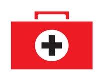 Fond blanc d'isolement par vecteur d'icône de kit de premiers secours Images libres de droits