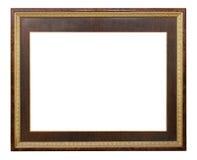 Fond blanc d'isolement par vintage moderne de cadre en bois Photographie stock