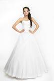 Fond blanc de belle mariée heureuse vers le haut de tissu Photos libres de droits
