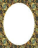 Fond blanc de cadre de cercle avec les frontières décorées Images stock