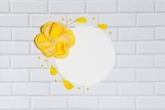 Fond blanc de cercle avec la fleur jaune faite main Photo libre de droits