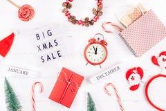 Fond blanc de grand de Noël de vente lightbox des textes photographie stock libre de droits