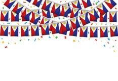 Fond blanc de guirlande de drapeaux de Philippines illustration libre de droits
