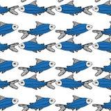 Fond blanc de modèle bleu de poissons d'isolement illustration de vecteur
