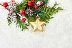 Fond blanc de neige avec l'arbre de Noël vert photos stock