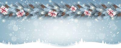 Fond blanc de Noël avec la guirlande des branches d'arbre de Noël, flocons de neige, étoiles images stock