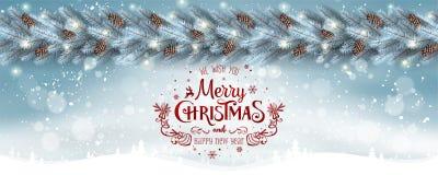 Fond blanc de Noël avec la guirlande des branches d'arbre de Noël, flocons de neige, étoiles Carte de Noël et d'an neuf photo stock