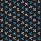 Fond blanc et bleu de noir de modèle de griffonnage de fleur Photos stock