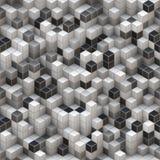 Fond blanc et noir de cubes Photographie stock