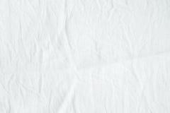 Fond blanc froissé de texture de tissu de coton, papier peint images libres de droits
