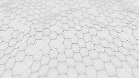 Fond blanc futuriste d'hexagone Concept futuriste de nid d'abeilles Vague des particules rendu 3d photos stock