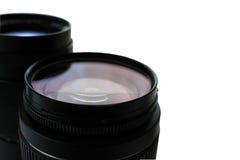 Fond blanc isolé par lentille de photo Photos stock
