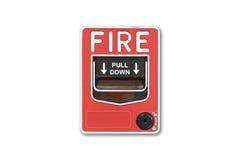 Fond blanc Le feu de commutateur de bouton poussoir Photo libre de droits