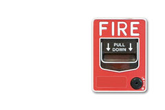 Fond blanc Le feu de commutateur de bouton poussoir Image stock
