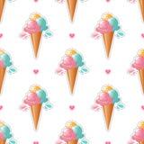 Fond blanc mignon à la mode de modèle de crème glacée  conception d'art de bruit 80s, autocollant de crème glacée ou insigne Photo stock
