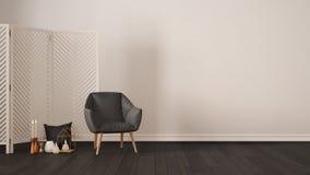 Fond blanc minimaliste scandinave avec le fauteuil, écran, images libres de droits