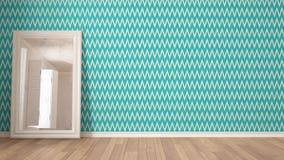 Fond blanc minimaliste scandinave avec le herringb de turquoise photo stock
