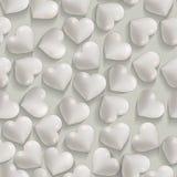Fond blanc romantique sans couture de valentines de coeurs Images libres de droits