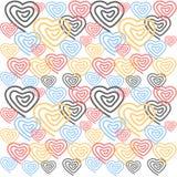 Fond blanc sans couture coloré de Saint-Valentin et de mariage avec des coeurs images libres de droits