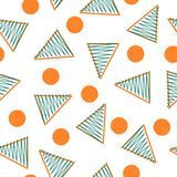 Fond blanc, triangles oranges et vertes et points d'oreange - modèle de répétition illustration stock