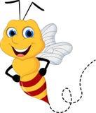 Fond blanc volant de bande dessinée mignonne d'abeille images stock