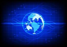 Fond bleu électronique de technologie numérique abstraite du monde Photographie stock