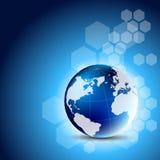 Fond bleu abstrait avec le globe Photos libres de droits