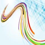 Fond bleu abstrait avec les lignes courbées. Image libre de droits